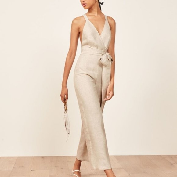 Reformation Dani Jumpsuit in Sand, Size 2, NWT